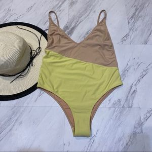 New! Topshop Color Block One Piece Swimsuit